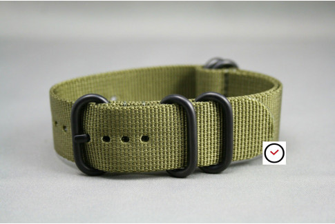 Olive Green NATO ZULU nylon strap, PVD buckle and loops (black)