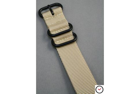 Bracelet nylon NATO ZULU Beige Sable, boucle PVD (noire)