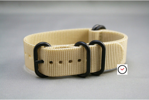 Sandy Beige NATO ZULU nylon strap, PVD buckle and loops (black)