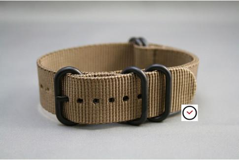 Bracelet nylon NATO ZULU Marron Bronze, boucle PVD (noire)