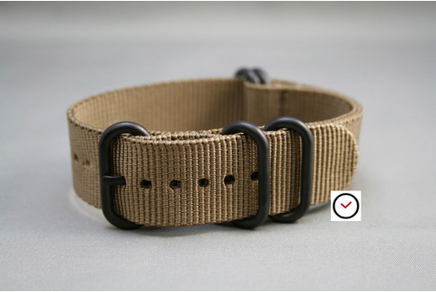 Bronze Brown NATO ZULU nylon strap, PVD buckle and loops (black)