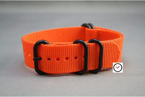 Orange NATO ZULU nylon strap, PVD buckle and loops (black)