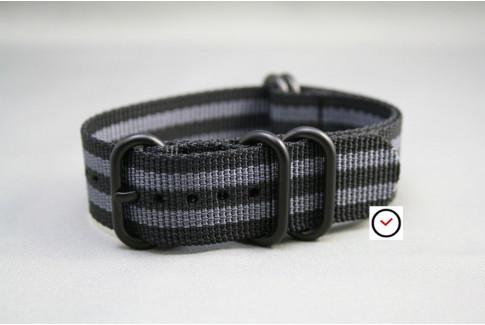 Bracelet nylon NATO ZULU Bond Craig (Noir Gris), boucle PVD (noire)