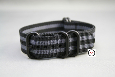 Craig Bond NATO ZULU strap - Black Grey, PVD buckle and loops (black)
