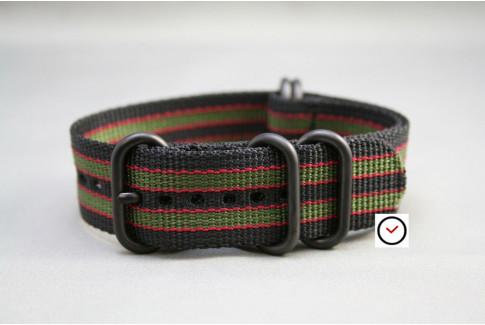 Bracelet nylon NATO ZULU Bond Original (Noir Vert-Kaki Rouge), boucle PVD (noire)