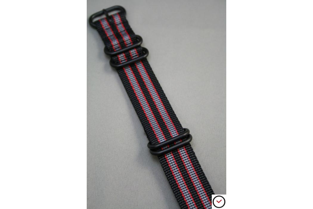 Bracelet nylon NATO ZULU Bond Noir Gris Rouge, boucle PVD (noire)