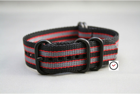 Black Grey Red James Bond NATO ZULU strap, PVD buckle and loops (black)