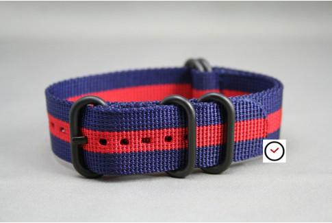 Bracelet nylon NATO ZULU Bleu Navy Rouge, boucle PVD (noire)