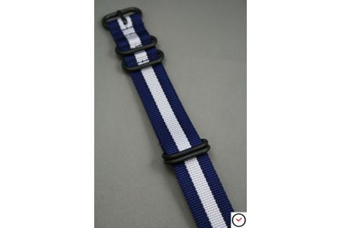 Bracelet nylon NATO ZULU Bleu Navy Blanc, boucle PVD (noire)