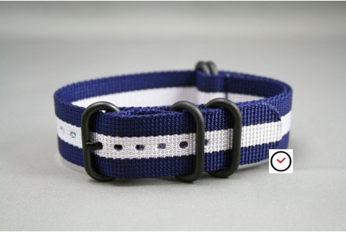 Navy Blue White NATO ZULU strap, PVD buckle and loops (black)