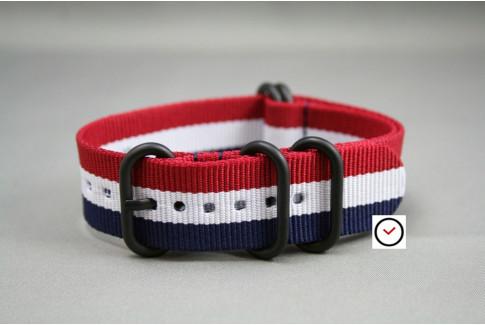 Bracelet nylon NATO ZULU Tricolore Bleu Blanc Rouge, boucle PVD (noire)