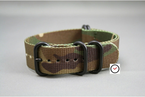Camouflage NATO ZULU nylon strap, PVD buckle and loops (black)