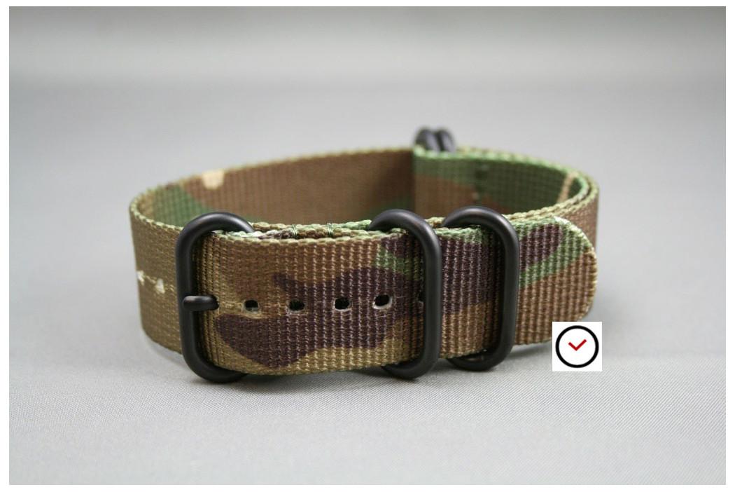 Bracelet nylon NATO ZULU Camouflage, boucle PVD (noire)