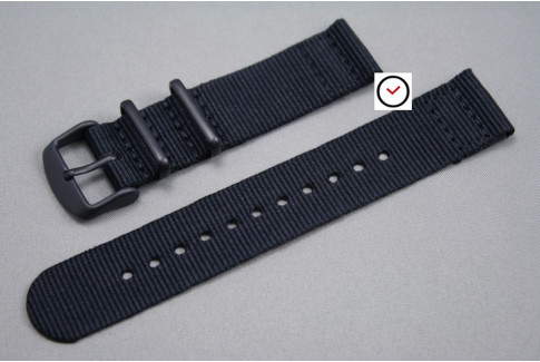Black 2 pieces NATO strap, PVD buckle and loops (black)