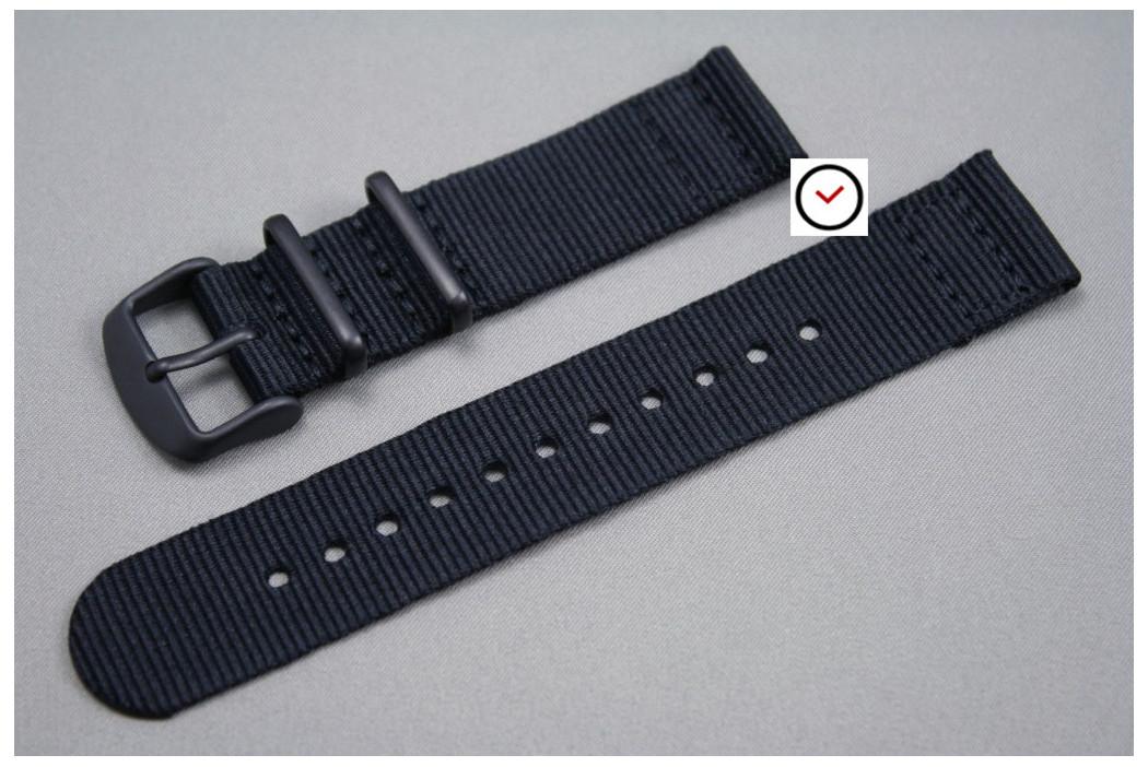Bracelet montre NATO 2 pièces Noir, boucle PVD (noire)