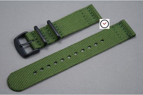 Bracelet montre NATO 2 pièces Vert Kaki (Militaire), boucle PVD (noire)