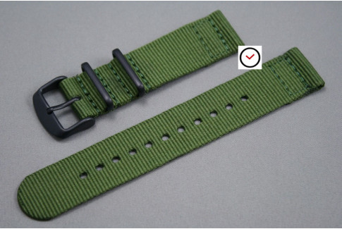 Military Green 2 pieces NATO strap, PVD buckle and loops (black)