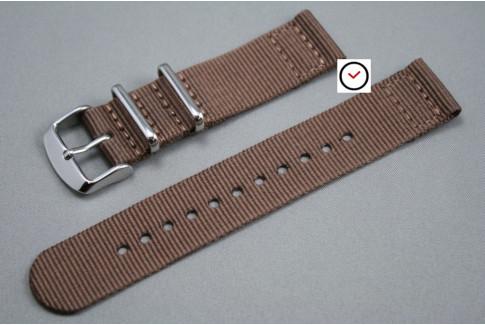 Bracelet montre NATO 2 pièces Marron