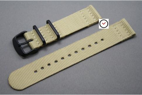Bracelet montre NATO 2 pièces Beige Sable, boucle PVD (noire)