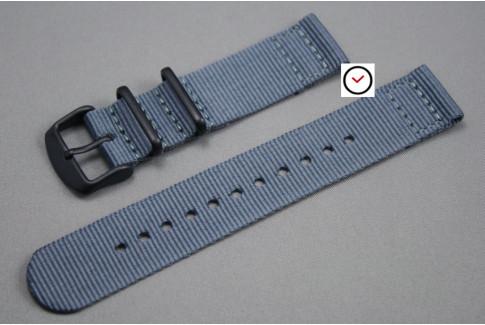 Bracelet montre NATO 2 pièces Gris, boucle PVD (noire)