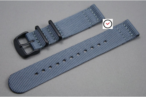 Grey 2 pieces NATO strap, PVD buckle and loops (black)