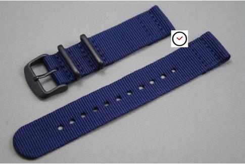 Bracelet montre NATO 2 pièces Bleu Navy, boucle PVD (noire)