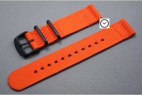 Bracelet montre NATO 2 pièces Orange, boucle PVD (noire)
