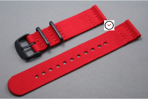 Red 2 pieces NATO strap, PVD buckle and loops (black)