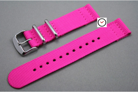 Bracelet montre NATO 2 pièces Rose Fushia