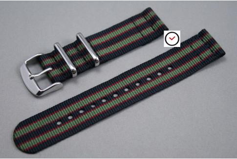 Bracelet montre NATO 2 pièces Bond Original (Noir Vert-Kaki Rouge)