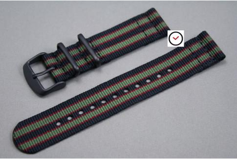 Bracelet montre NATO 2 pièces Bond Original (Noir Kaki Rouge), boucle PVD (noire)