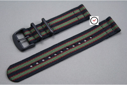 Original Bond 2 pieces NATO strap (Black Green Red), PVD buckle and loops (black)
