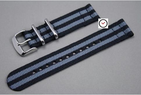 Bracelet montre NATO 2 pièces Bond Craig (Noir Gris)