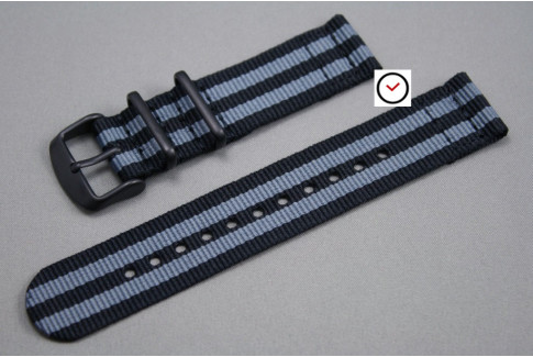 Craig Bond 2 pieces NATO strap (Black Grey), PVD buckle and loops (black)