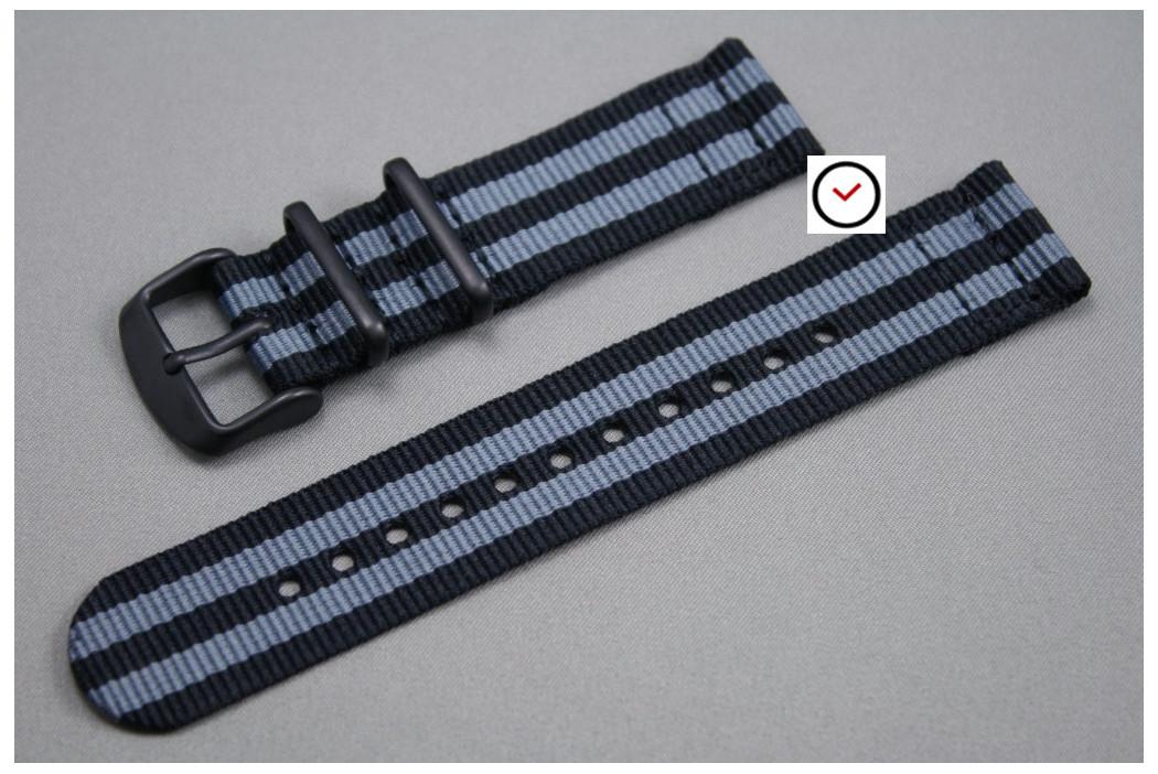 Bracelet montre NATO 2 pièces Bond Craig (Noir Gris), boucle PVD (noire)
