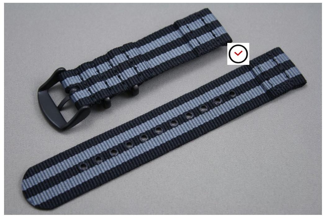 Craig Bond 2 pieces NATO strap (Black Grey), PVD buckle and loops (black)
