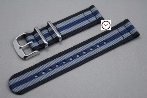 Black Grey Blue James Bond 2 pieces NATO strap (nylon)