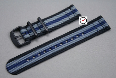 Black Grey Blue James Bond 2 pieces NATO strap, PVD buckle and loops (black)