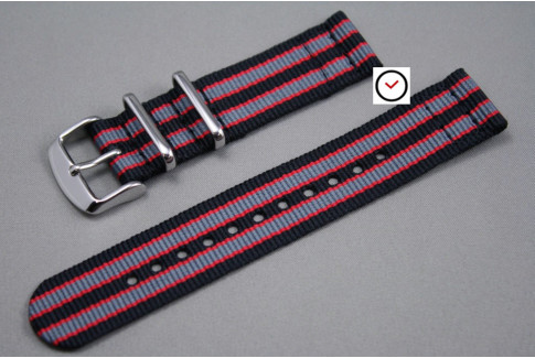 Black Grey Red James Bond 2 pieces NATO strap (nylon)
