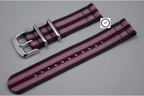 Black Grey Red James Bond 2 pieces NATO strap (nylon)