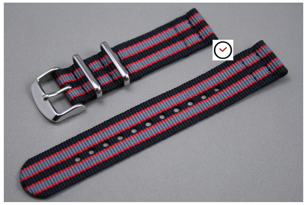 Bracelet montre NATO 2 pièces Bond Noir Gris Rouge