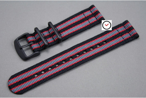 Black Grey Red James Bond 2 pieces NATO strap, PVD buckle and loops (black)