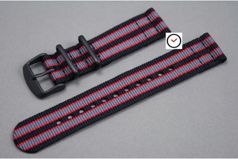 Bracelet montre NATO 2 pièces Bond Noir Gris Rouge, boucle PVD (noire)