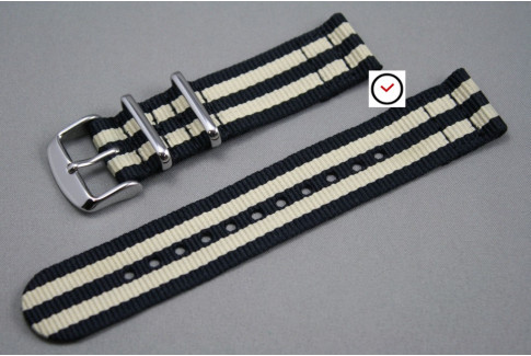 Black Sandy Beige James Bond 2 pieces NATO strap (nylon)