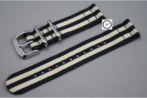 Bracelet montre NATO 2 pièces Bond Noir Beige Sable
