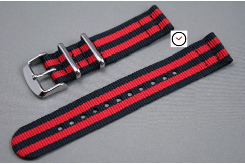 Black Red James Bond 2 pieces NATO strap (nylon)