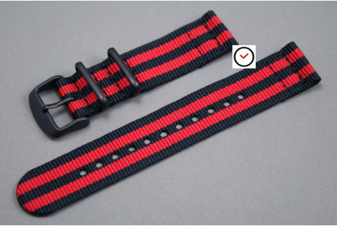 Black Red James Bond 2 pieces NATO strap, PVD buckle and loops (black)