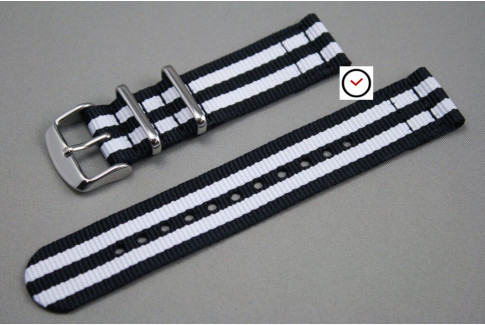 Black White James Bond 2 pieces NATO strap (nylon)
