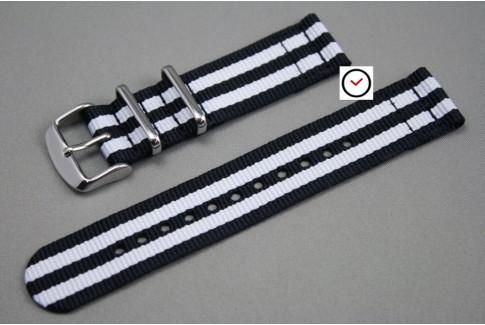 Black White James Bond 2 pieces NATO strap (nylon)