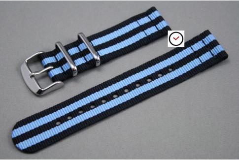 Black Blue James Bond 2 pieces NATO strap (nylon)